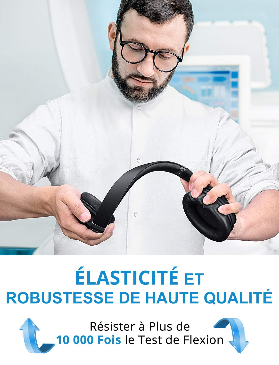 2-Argent Casque St/ér/éo sans Fil Haute Fid/élit/é Casque Reduction de Bruit Active Casque Bluetooth Annulation de Bruit Active sans Fil Casque Reduction Active Bruit Mpow H5 Annulation Active de Bruit