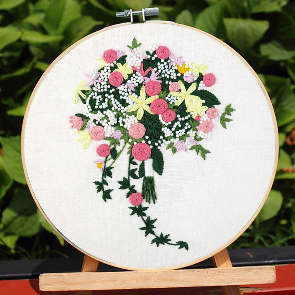 Color Threads and Tools Kit Bamboo Embroidery Hoop Full Range of Embroidery Starter Kit with Pattern,Handmade Cross Stitch Kit Including Embroidery Cloth with Pattern