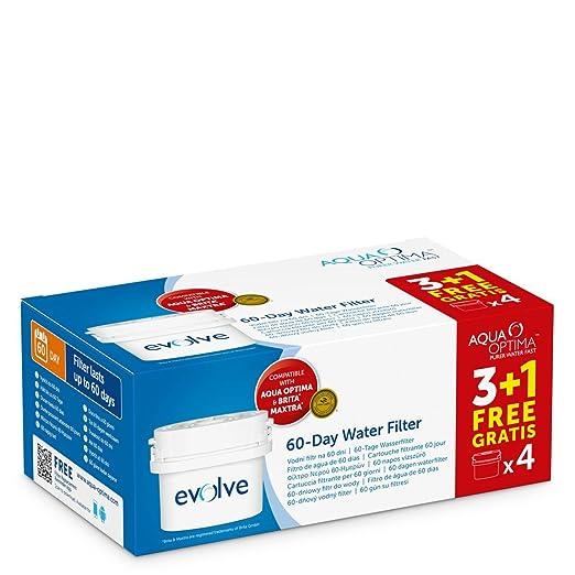 576 opinioni per Aqua Optima Evolve confezione 8 mesi, 4 filtri per acqua x 60 giorni- per
