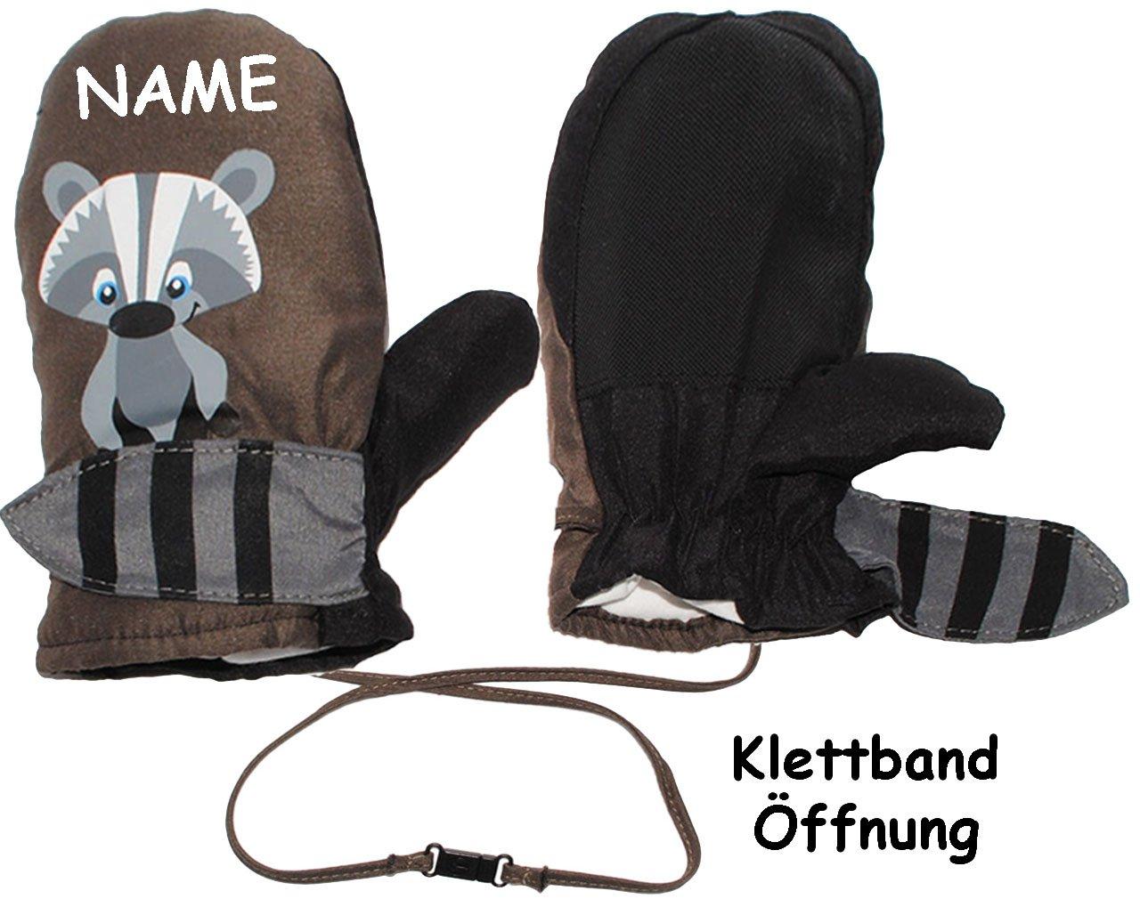 alles-meine.de GmbH Fäustlinge / Fausthandschuhe - Größen: 1 bis 2 Jahre - süßer Waschbär - incl. Name - mit langem Schaft + Klettverschluß - LEICHT anzuziehen ! mit Daumen _..