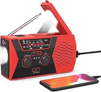 Esky Upgraded Emergency Solar Hand Crank Radio, NOAA Weather Radio with AM/FM, LED Flashlight, Reading Lamp, 2000mAh Power Bank and SOS Alarm