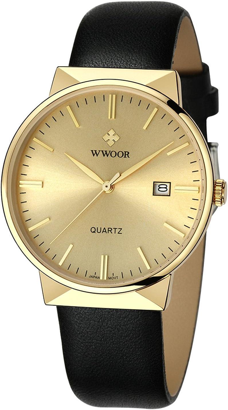 WWOOR Men s Luxury Leather Strap Analog Display Quartz Watches Waterproof Dress Wrist Watch