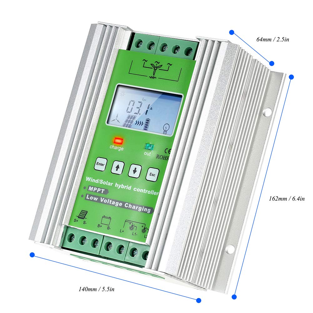 1000W Wind Solar Hybrid Charge Controller ,Off Grid MPPT Wind Turbine Solar Charge Controller Hybrid Controller 600W Wind and 400W Solar Panel 12V/24V Auto Distinguish by anancooler (Image #1)
