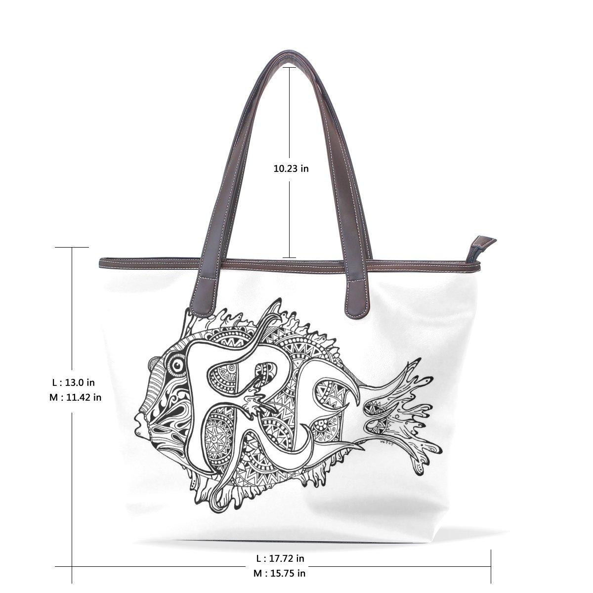 Ye Store Fish Lady PU Leather Handbag Tote Bag Shoulder Bag Shopping Bag