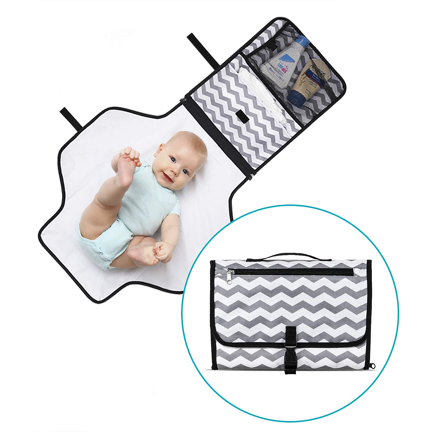 Momcozy Portable Waterproof Diaper Changing Pad Clutch, Travel Changer Station Kit for Baby Diapering,Detachable and Wipeable