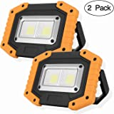 OTYTY COB 30W 1500LM LED Work Light 2 Pack, Rechargeable Portable Waterproof LED Flood Lights Outdoor Camping Hiking Emergency Car Repairing Job Site Lighting, O-WL2pack 30.00W, 5.00V