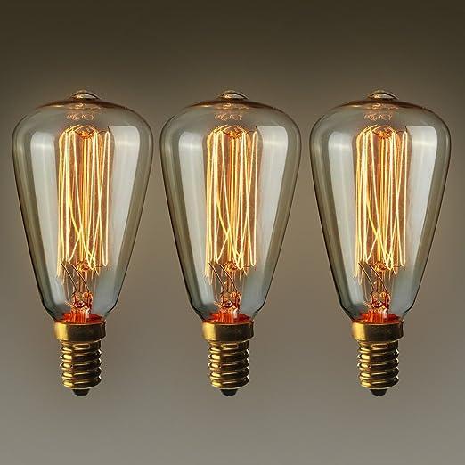 19 opinioni per KINGSO 3pcs luce ambra Shell Edison Retro Serie tungsteno lampadina E14 ST48 40