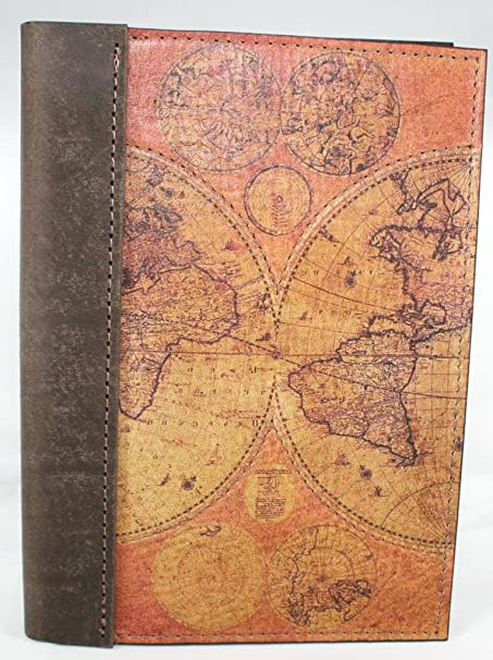 Leather travel journal notebook diary logbook with a printed leather travel journal notebook diary logbook with a printed old world map on gumiabroncs Choice Image