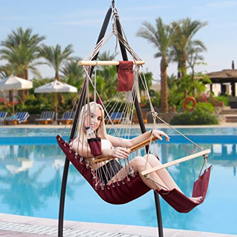 Marvelous Lazy Daze Hammocks Hanging Rope Chair Cotton Padded Swing Chair Hammock Seat  With Cup Holder,