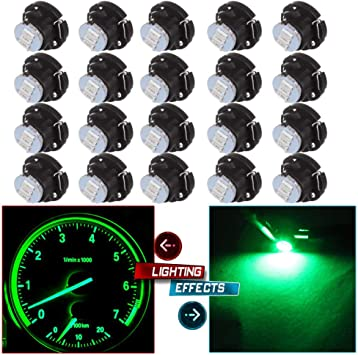 20x Green T5//T4.7 Neo Wedge 3SMD LED Bulbs Dashboard A//C Climate Control Lights