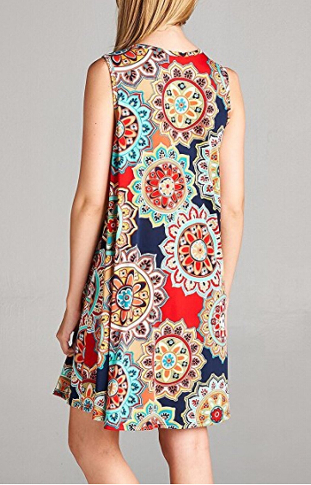 POGTMM Ladies Casual Ethnic Flower Print Beach Loose Tank Plus Size Short Dresses(Navy Blue,XXL) by POGTMM (Image #5)