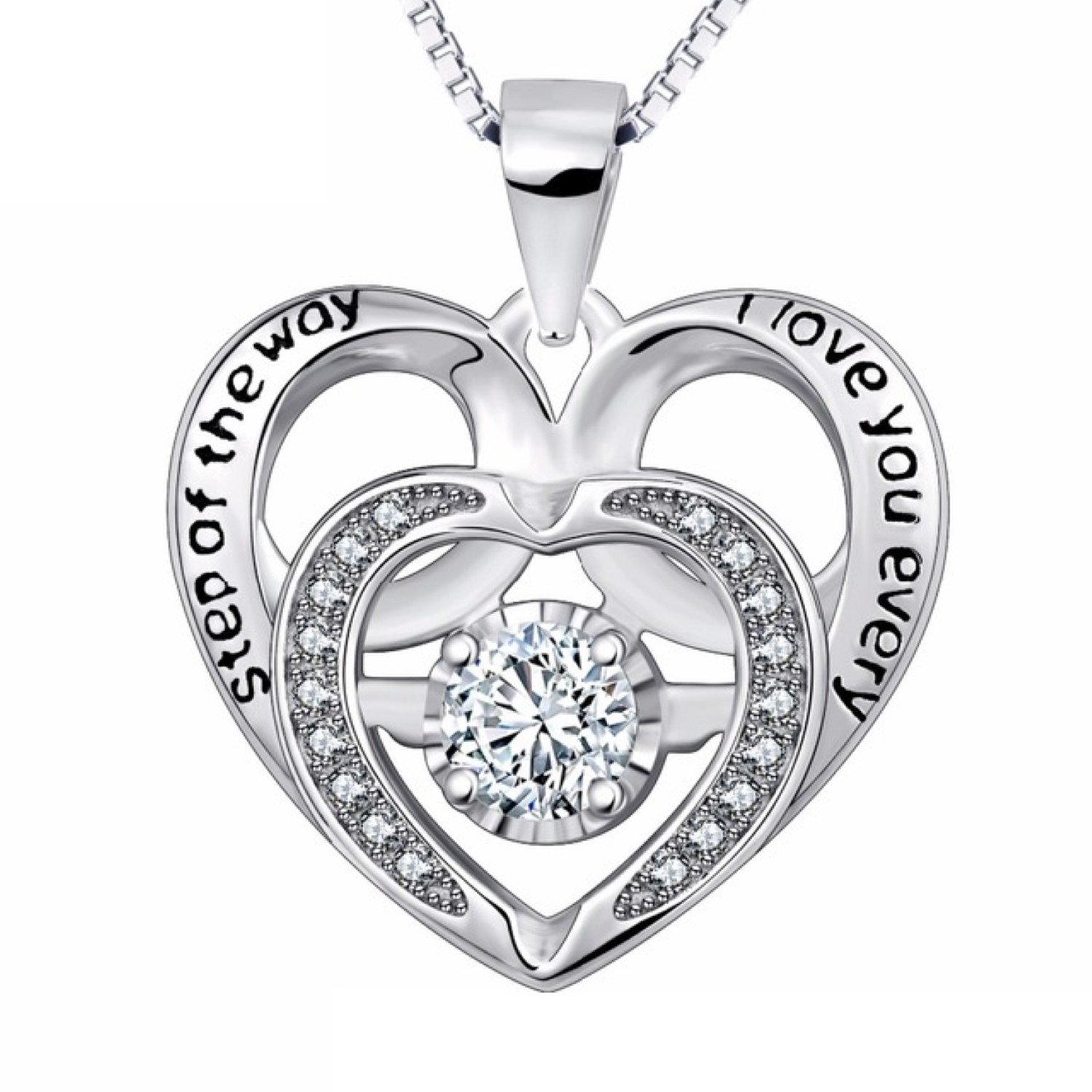 MMC Silver Necklace Crystal Heart to Heart Forever Love Design Jewelry