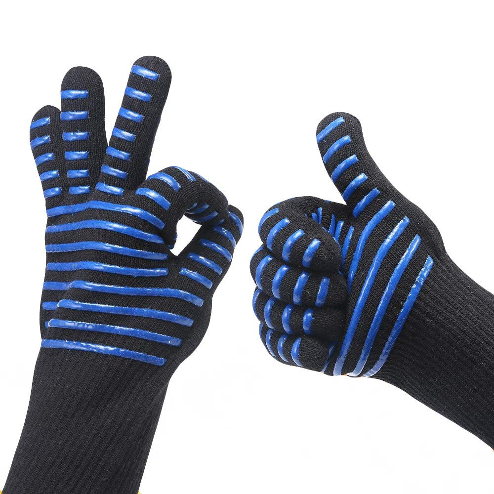 Oven Gloves, Oven Mitts with Quilted Liner, Grilling Gloves Kitchen BBQ Gloves Heat Resistant Potholder for Barbecue