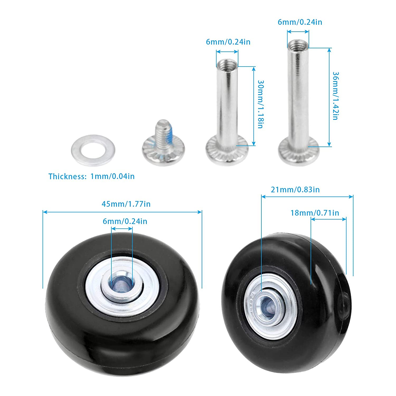 Mtsooning 2Set 68x24mm Clear Luggage Suitcase Replacement Wheels with Axles Wrench Repair Bearings