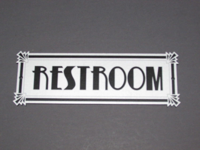 Restroom Sign Door Sign Deco Style Grey /& Black Bathroom