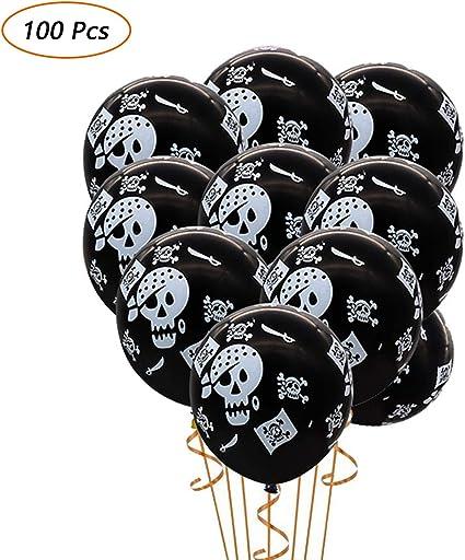 Amazon.com: 100 globos de látex con diseño de calavera ...