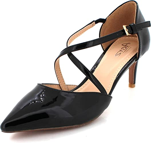 Womens Ladies Pointed Toe Shiny Evening