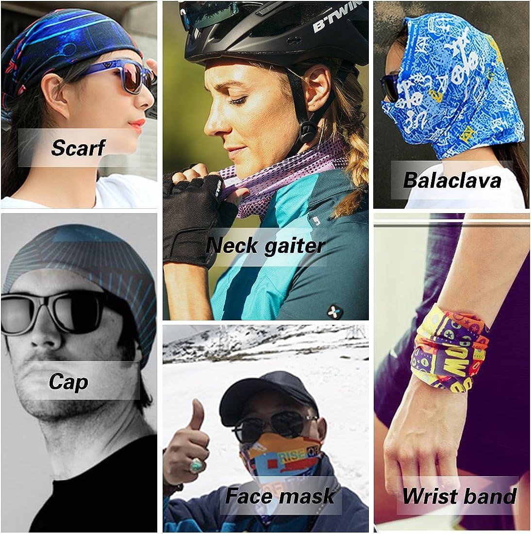 RAISEVERN Unisex Multifunktions Nahtlose Bandana 3D Cool Halstuch Multifunktionale Kopfbedeckung Bedrucktes Stirnband Schal Sport Headwrap Tube Bandanas f/ür Sport /& Outdoor Camping /& Wandern