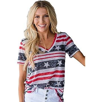 lantusi Women Casual V-Neck Short Sleeve Contrast Color Patchwork T-Shirt Knits & Tees