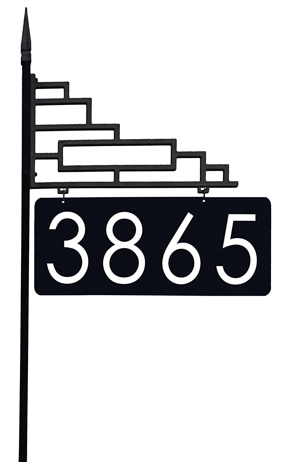 Extra Large Contemporary Reflective 911 Yard Address Sign - 6 Numbers on Both Sides, 60 Post 60 Post Address America AS-XLCONTEMP-48