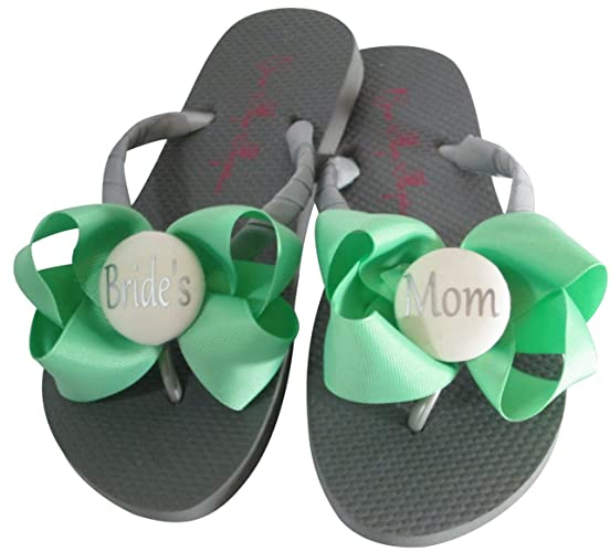 39b291a5a Amazon.com  Mint and Silver Gray Bridal Party Flip Flops  Handmade