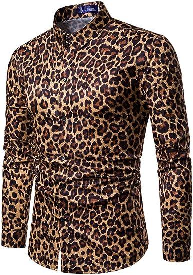 Camisas -Moda de Hombres Estampado de Leopardo Impreso Blusa Casual Manga Larga Camisas Delgadas Tops: Amazon.es: Ropa y accesorios