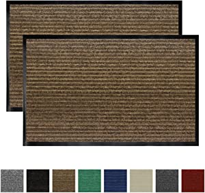 Gorilla Grip Original Low Profile Rubber Door Mat, 35x23, Pack of 2, Durable Doormat for Indoor and Outdoor, Waterproof, Easy Clean, Home Rug Mats for Entry, Patio, High Traffic, Brown