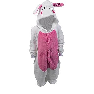 2274c6718 Classic Home Store Children's Super Soft White Rabbit Design Onesie Kid's  Polyester Coral Fleece Button Up