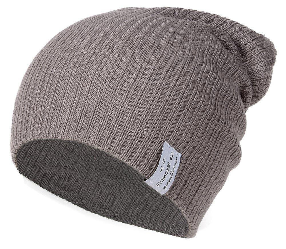 91f3ac642c3 Amazon.com  Soft Ribbed Ski Beanie Slouch Slouchy Knit Hat Heather Gray   Clothing