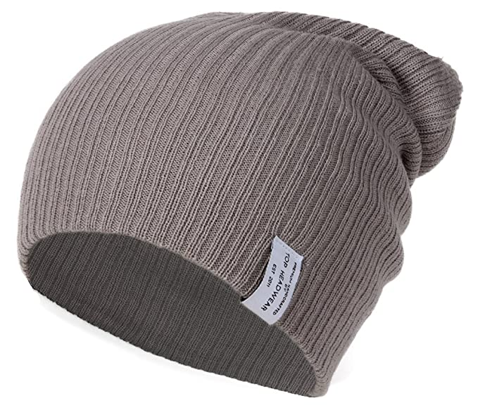 Amazon.com  Soft Ribbed Ski Beanie Slouch Slouchy Knit Hat Heather ... c10385f2902