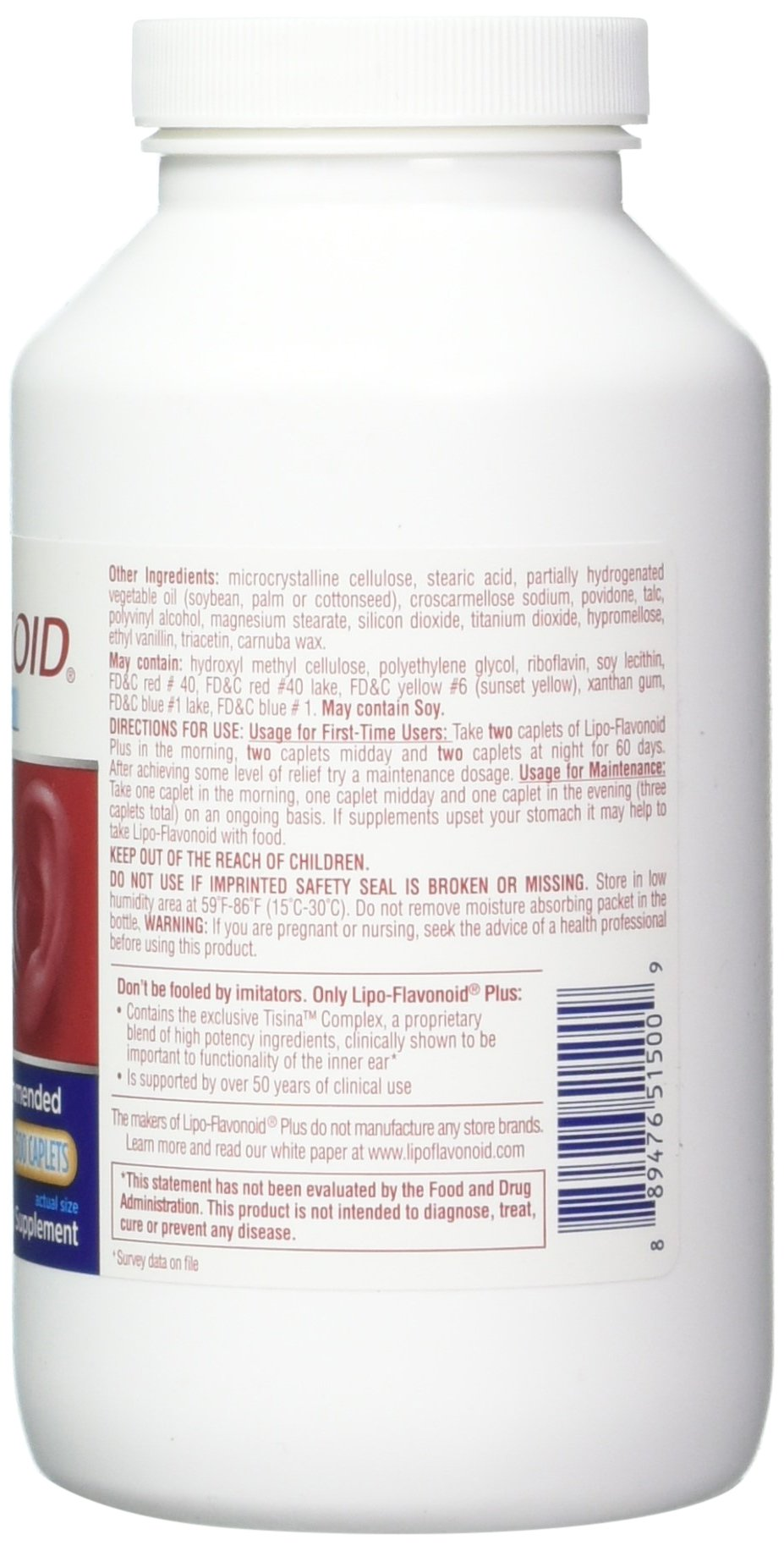 Lipo-Flavonoid Plus Ear Health Supplement | Most Effective Over the Counter Solution to Reduce Ear Ringing| #1 ENT Doctor Recommended for Tinnitus | 500 Caplets by Lipo-Flavonoid (Image #4)