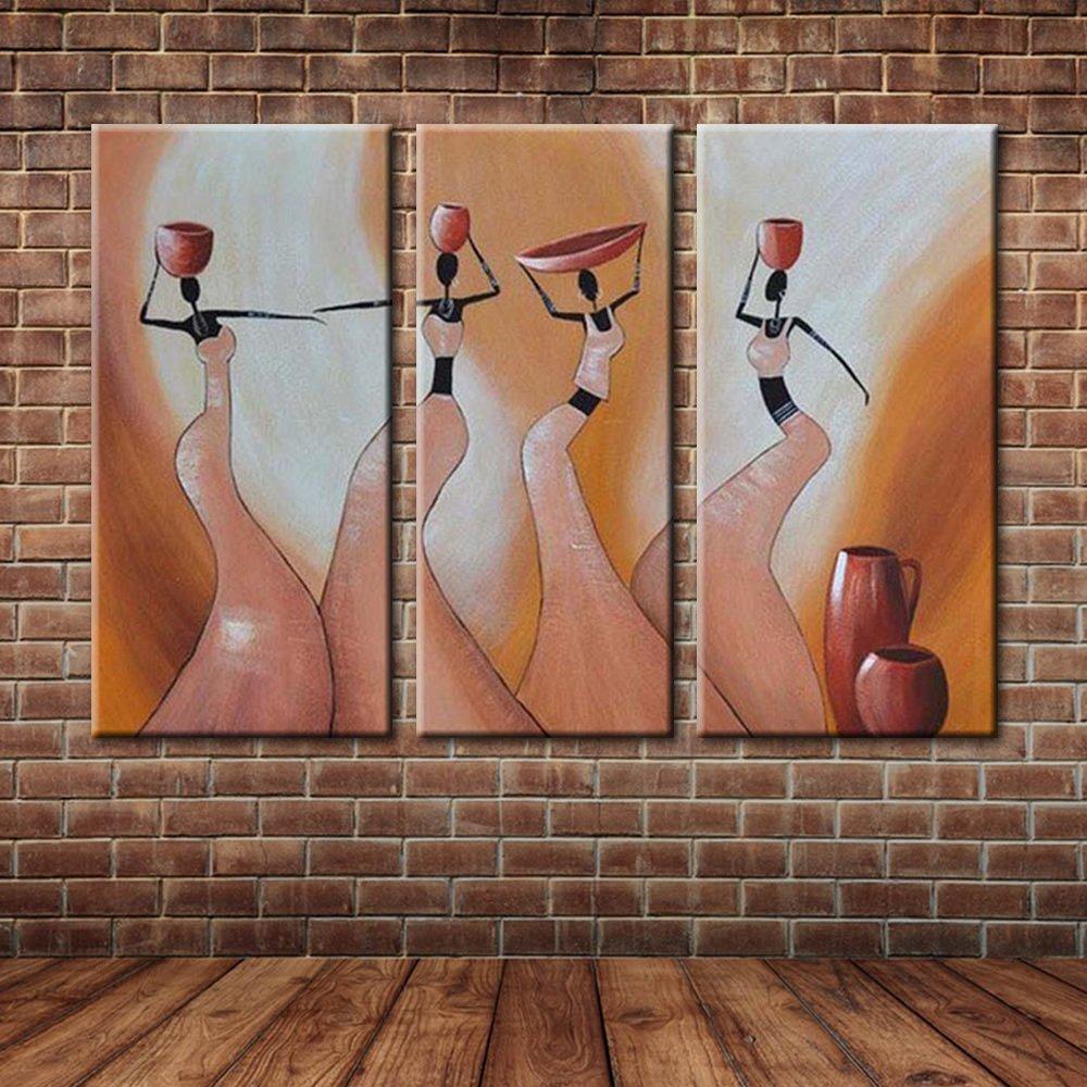 IPLST@ Impressionist holt Wasser Afrikanische Frauen Ölgemälde auf ...