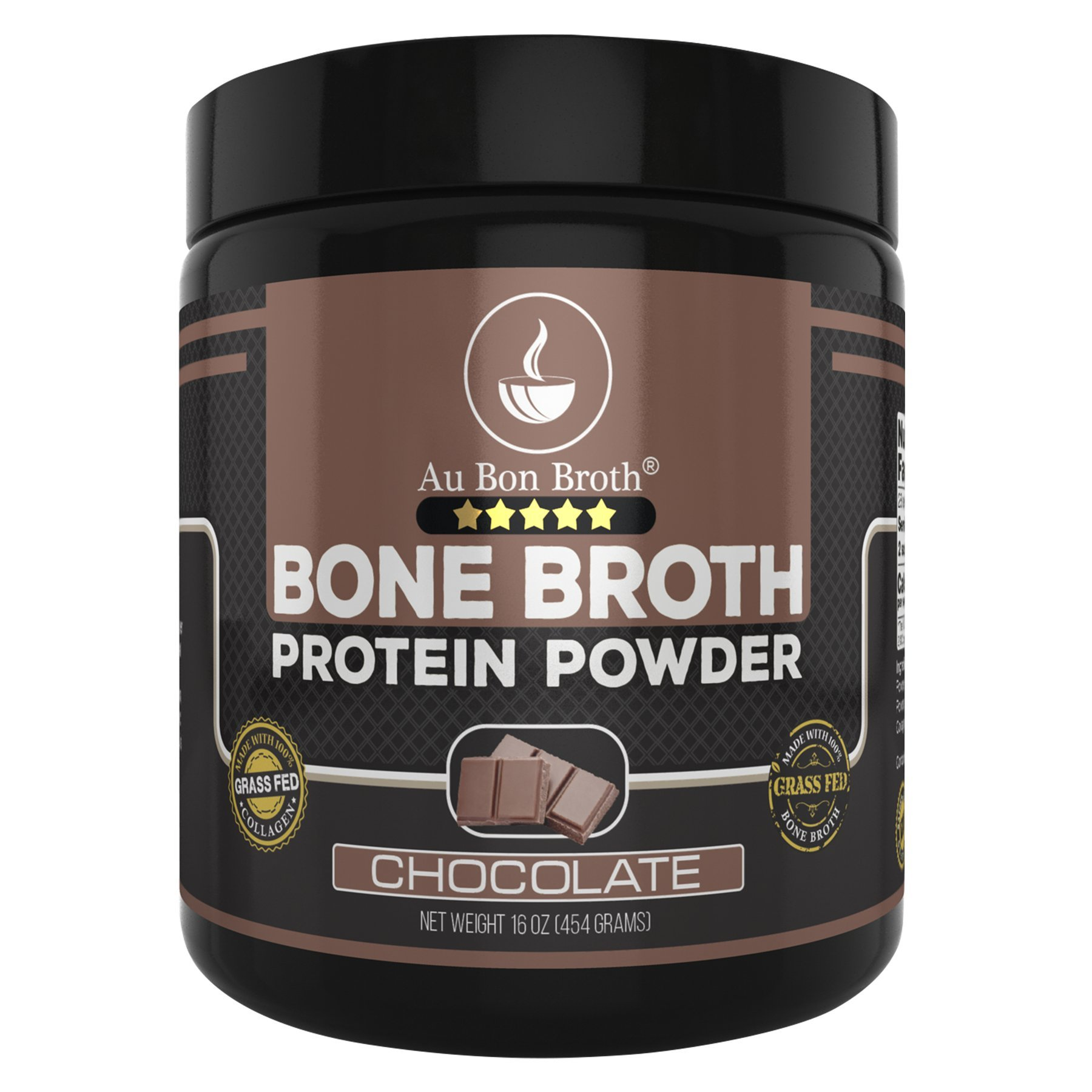 Genuine Grass Fed Organic Bone Broth Protein Powder Collagen 16oz. Chocolate Flavor 28 Servings, Mixes Instantly, Gluten Free, Pasture Raised, 100% Sourced, Made in USA, NOT from Concentrate