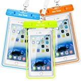 Universal Waterproof Case, Ace Teah Clear IPX8 Waterproof Phone Pouch Dry Bag Case Snowproof Dirtproof for iPhone 8 8 plus 7 7plus 6 6s plus Samsung Galaxy S8 S7 Note 8 6 5 Google Pixel HTC (3-Pack)
