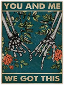 "yyone Famous Scenery Wrapped Canvas Skeleton Hand You and Me We Got This On Canvas Modern Wall Art Decor Wooden Framed 16"" X 20"""