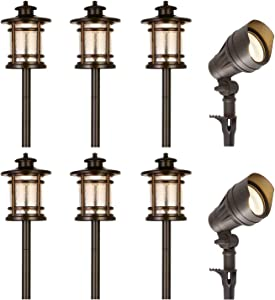 hykolity 8 Pack Low Voltage LED Landscape Kits, 12V Pathway Flood Light Kits, 10W 390LM and 3.4W 155LM Wired for Outdoor Yard Lawn, Die-cast Aluminum, 50W and 30W Equivalent 15-Year Lifespan