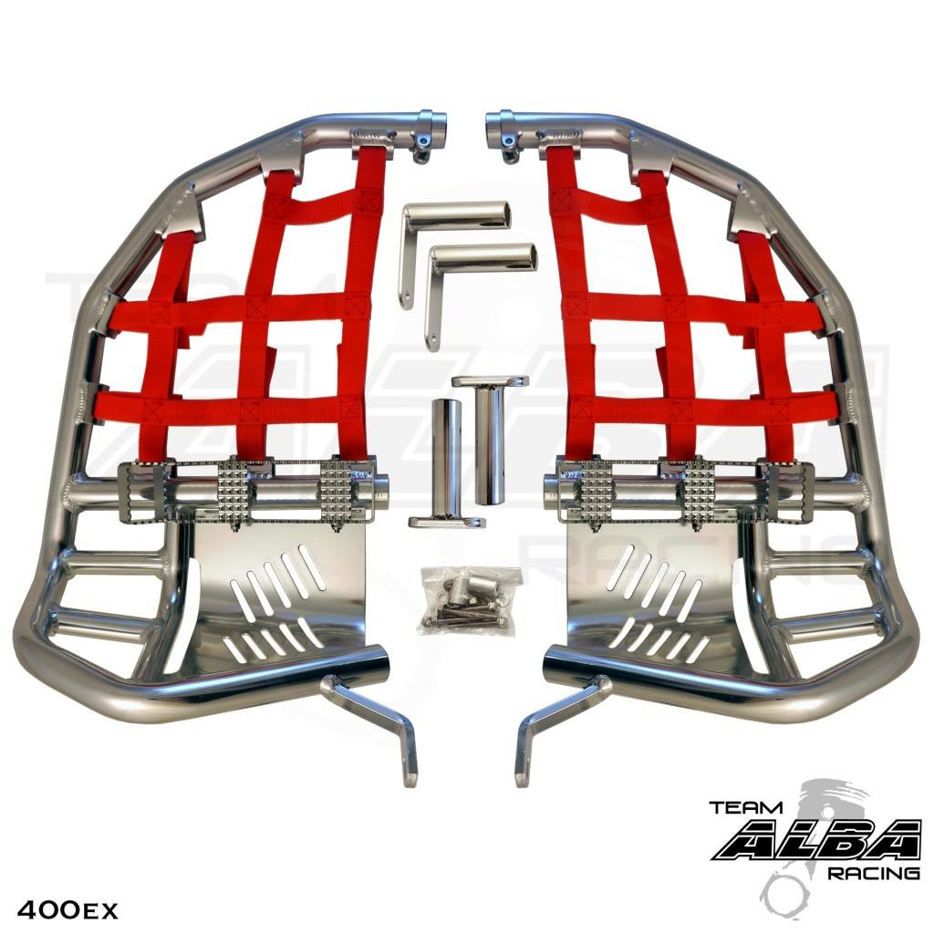 Honda TRX 400EX SPORTRAX (1999-2014) Propeg Nerf Bars Silver Bars w/ Red Net