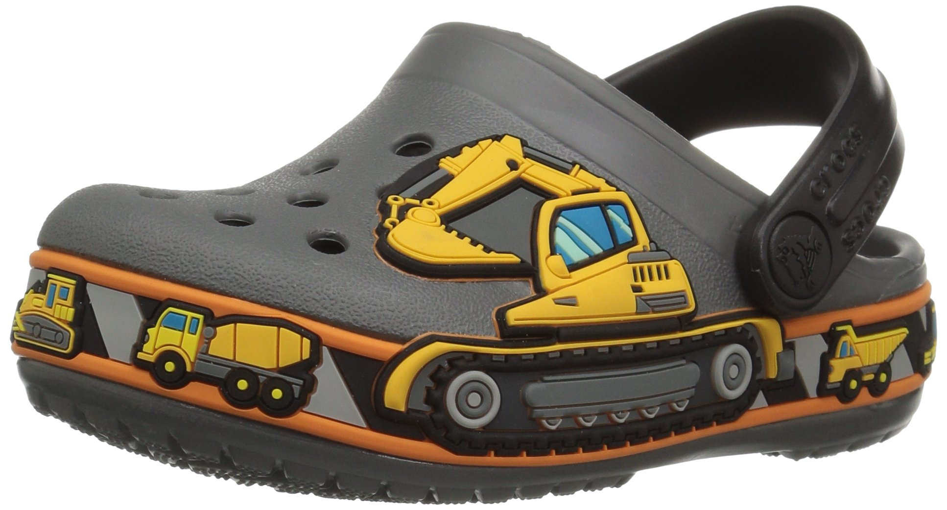 Crocs Unisex-Kids CB Fun Lab Graphic Clg K-Construction Clog, Slate Grey, 13 M US Little Kid