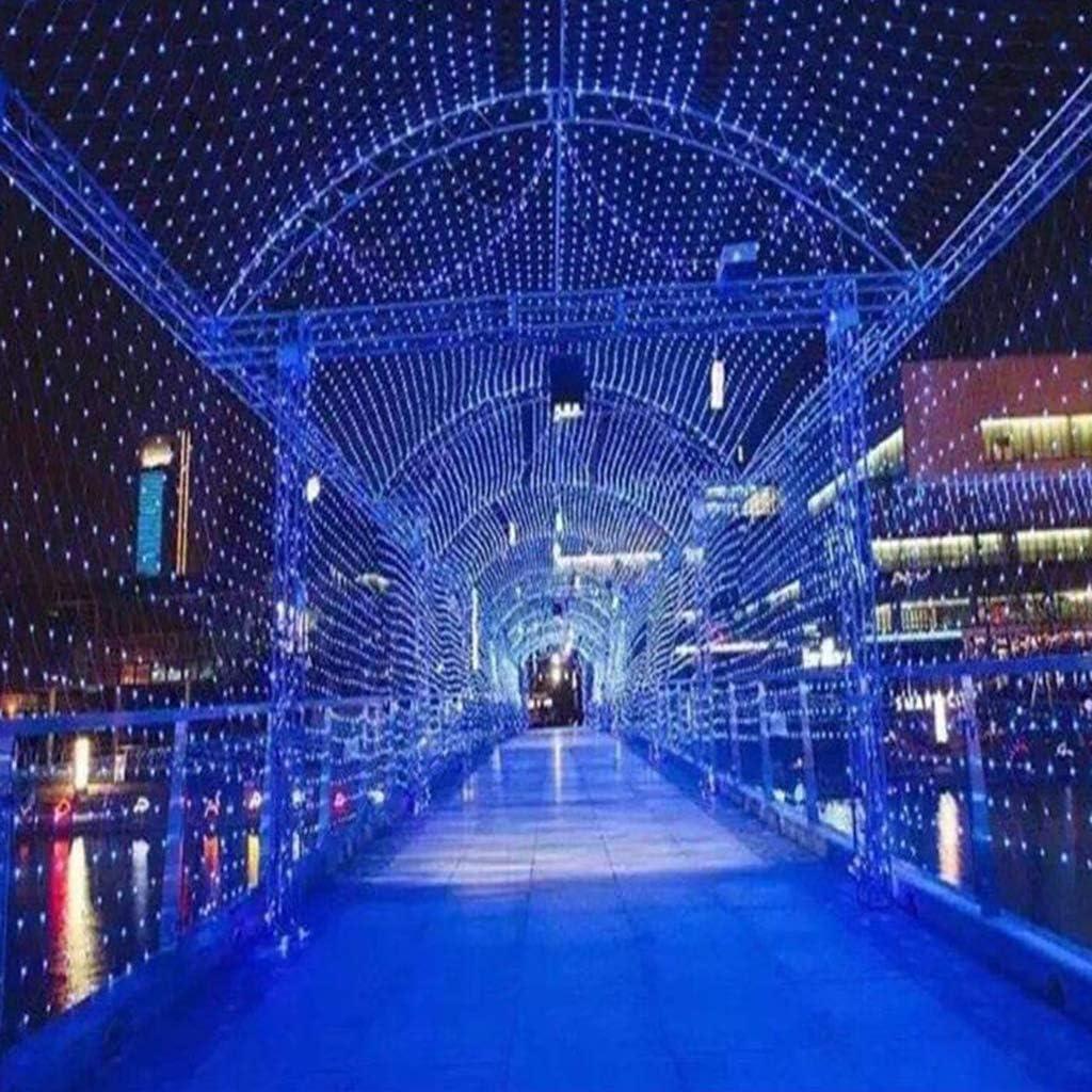 ネットメッシュ妖精の文字列ライト、8モード、アウトドア/クリスマス/パーティー背景装飾用のメッシュライト(ブルー) 10×8m