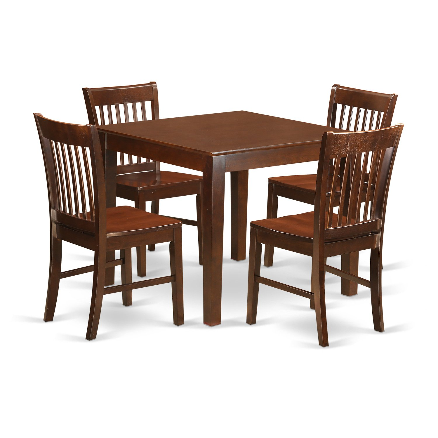 East West Furniture OXNO5-MAH-W 5 PC Kitchen Table Set with One Oxford Table & 4 Dining Room Chairs in Mahogany Finish