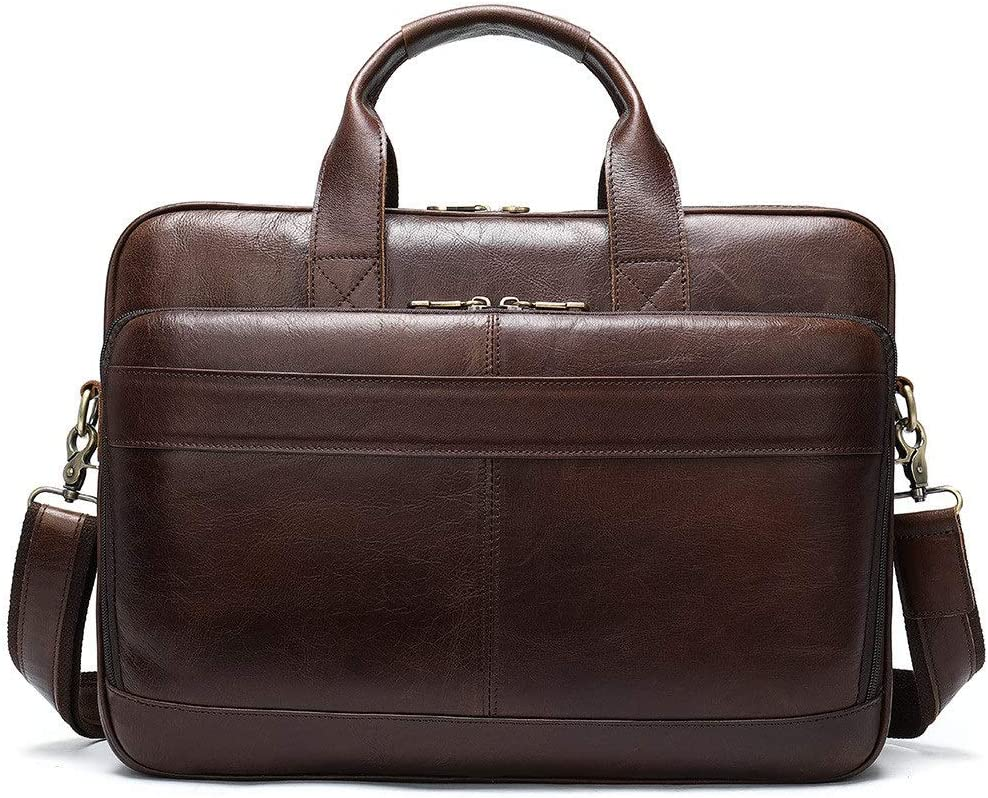 DHUYUN Mens Briefcase 15.6-inch Laptop Office Handbag Leather Business Multi-Function Retro Briefcase Casual Mens Luggage Bag Color : Coffee, Size : 40.5x28x6.5cm