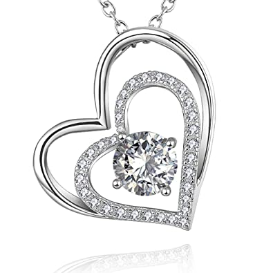 58c7cf6428950 Amazon.com: Heart Necklaces in Sterling Silver with Simulated ...