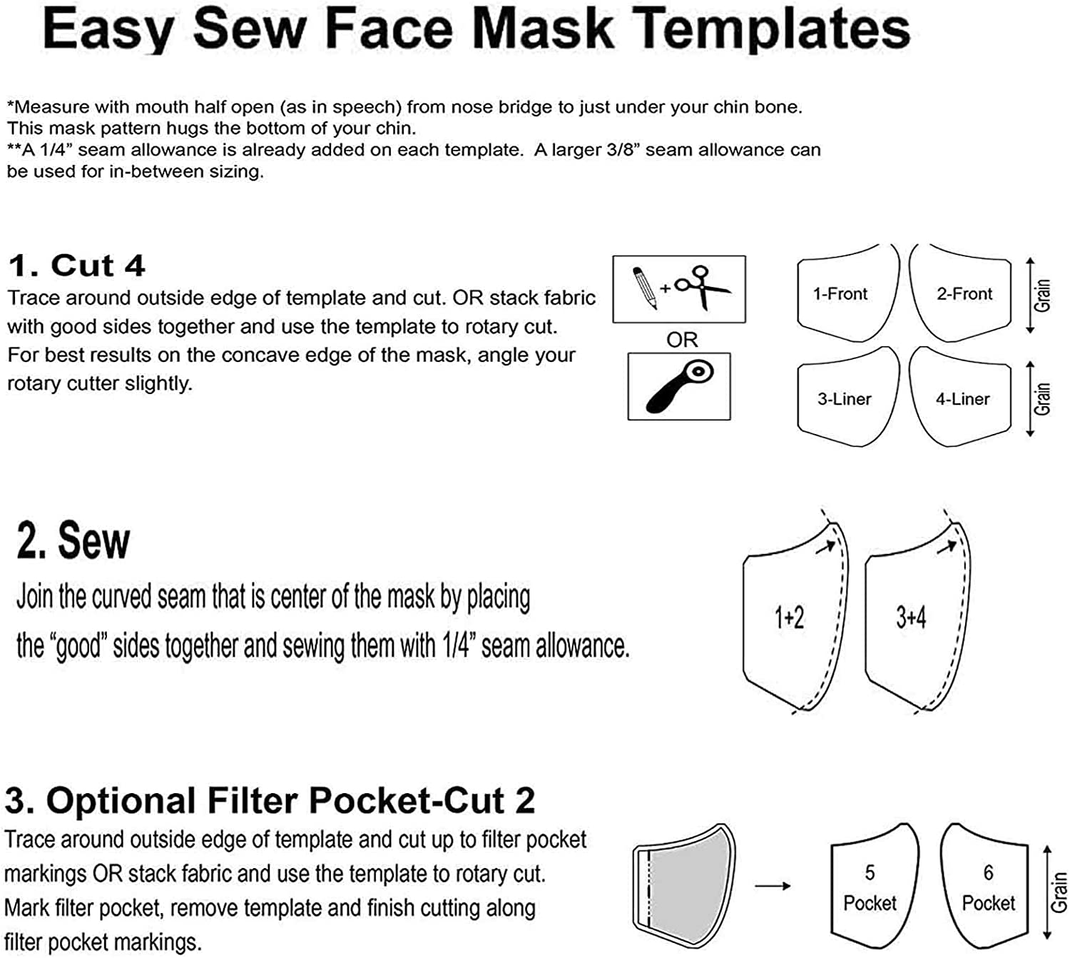 4PC Homemade Sewing Ruler Template Fitted Pattern,Reusable Plastic Sewing Template Pattern for DIY Face Bandanas,with Elastic Tool,for Kids,Men,Women