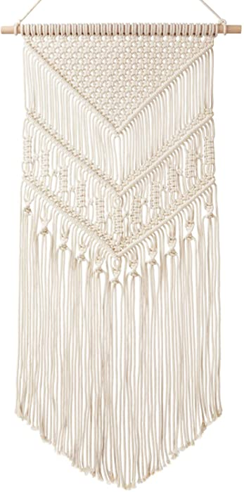 "Mkono Macrame Wall Hanging Art Woven Tapestry Boho Home Decor Apartment Dorm Room Decoration, 17"" W x 33"" L"