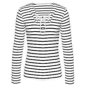 Women Long Sleeve Shirt,Buedvo Deep V-neck Striped Cross Front Bowknot Sexy Blouse (XL/US10, White+Balck)