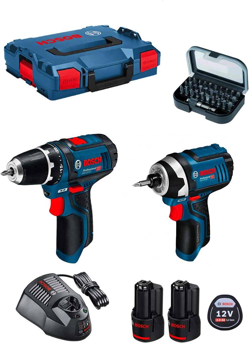 Bosch Taladro/Destornillador GSR GDR 10,8, alimentación mediante batería, incluye 2baterías y caja de L-BOXX NORDEC 608con 31 puntas