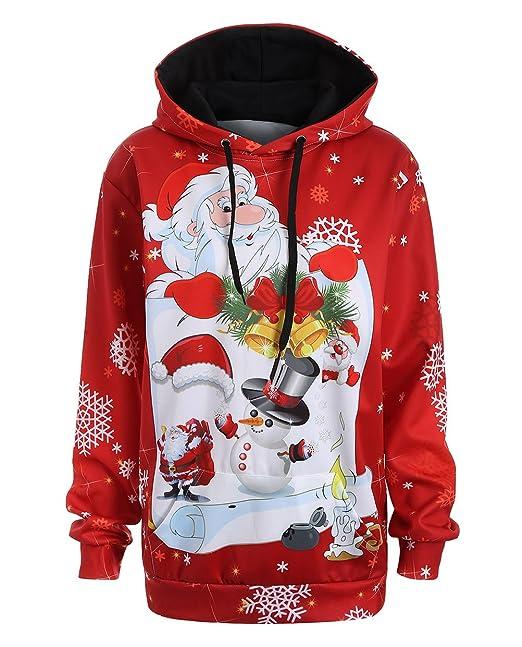 Mujer Sudaderas con Capucha Navidad Fiestas Tallas Grandes Anchas Sencillos Especial Estampadas Papá Noel Sweatshirts Invierno Otoño Elegantes Manga Larga ...