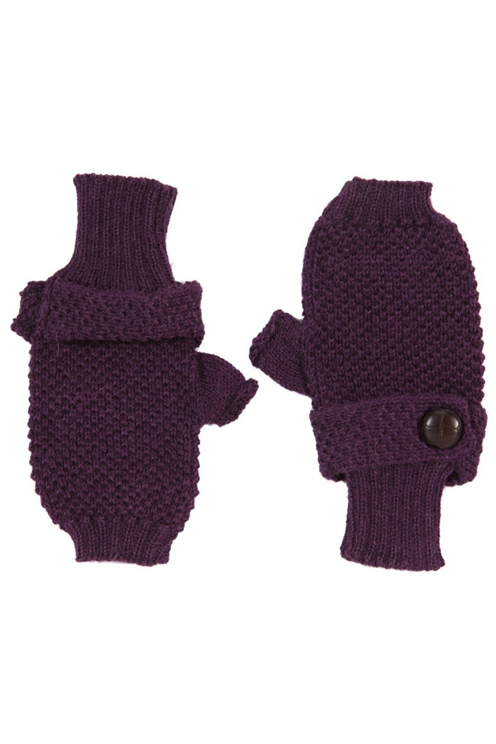 Baby Alpaca - knitted Fingerless Mittens Gloves 100% baby alpaca - purple, One size ANTA Q' ULQI