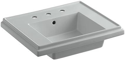 Kohler Tresham Pedestal Sink.Kohler K 2757 8 95 Tresham 24 Inch Pedestal Bathroom Sink Basin With 8 Inch Widespread Faucet Drilling Iced Grey