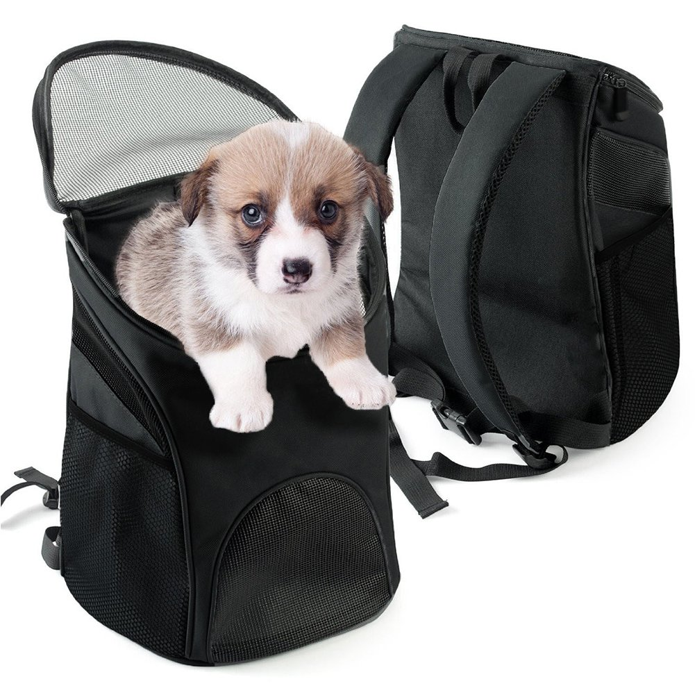 Multi-use Breathable Pet Backpack Cats and Dogs Pet bag Carrier Portable Mesh Pup Travel Dog House Airline Approved Hold Pet up to 10 lb (Black)